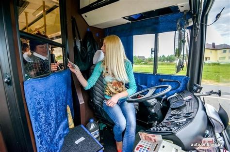 beautiful blonde woman   bus driver  belarus