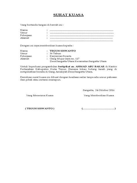 Surat kuasa perseorangan yaitu surat kuasa yang diberikan oleh seseorang kepada orang lain atau perusahaan untuk melakukan kegiatan yang sifatnya kepentingan pribadi si pemberi wewenang, seperti pengurusan bayar listrik, bayar pajak, pengambilan gaji, pengambilan barang, dan lainnya. Contoh Surat Kuasa Pengambilan Sertifikat Tanah & Cara ...