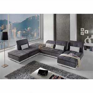 canape modulable canape d39angle contemporain With meuble tv cuir center