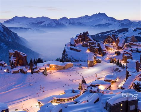 snow covered town  bing widescreen wallpaper preview