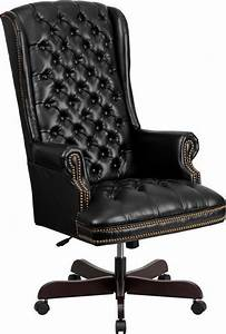 High, Back, Traditional, Tufted, Black, Leather, Executive, Office, Chair
