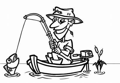 Fisherman Cartoon Clipart Boat Clip Cliparts Fish