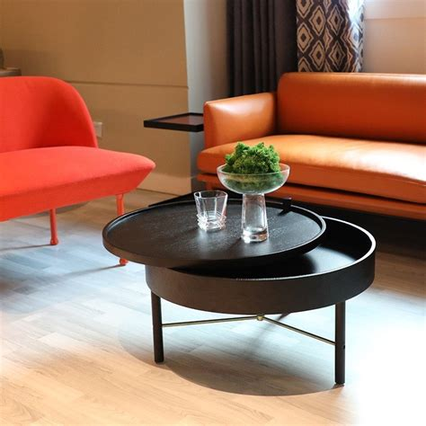 Concrete ones deliver an industrial edge, while black marble gives a moody feel. Luxury Modern Chic Round Wood Storage Coffee Table Black / Natural Rotating Accent Table,Modern ...