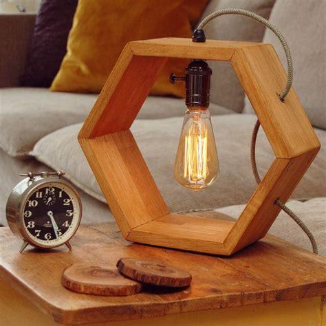 wooden handmade vintshop hexagon design table lamp
