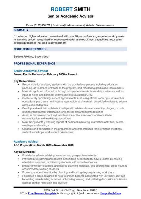 academic advisor resume samples qwikresume