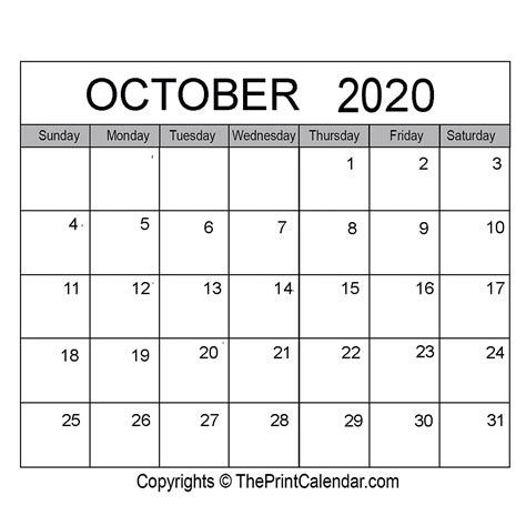 october  printable calendar template  word excel