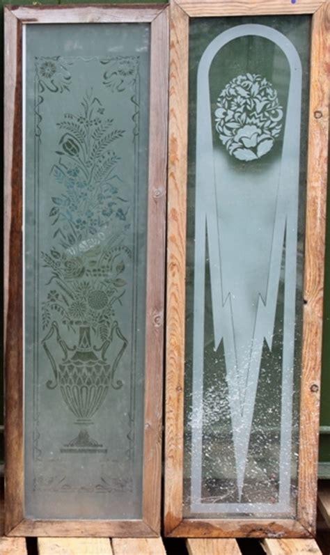 antique etched glass panels