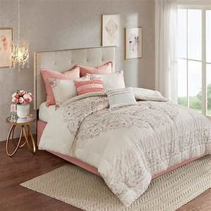 8pc, Blush, Pink, Floral, Cotton, Reversible, Comforter, Set, And