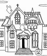 Haunted Coloring Castle Pages Printable Printables Drawing Cool2bkids Halloween Spooky Line Clip Getdrawings Getcolorings Getcoloringpages sketch template