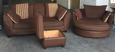 dfs rrp 163 2000 brown settee swivel cuddle chair storage