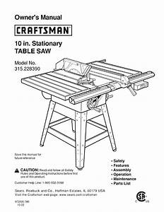 Craftsman Saw 315 22839 User Guide