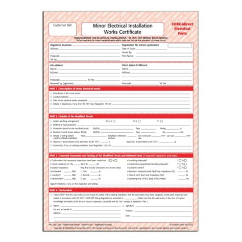 Minor Electrical Installation Works Certificate Template by Corgidirect Minor Electrical Works Certificate Cp22