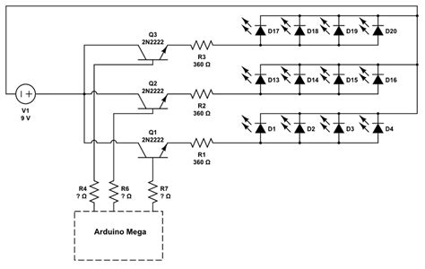 Powering Leds Using Transistors Controlled Arduino Mega