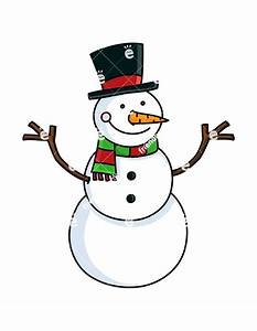 Cute Snowman With Hat And Christmassy Scarf Cartoon Vector ...