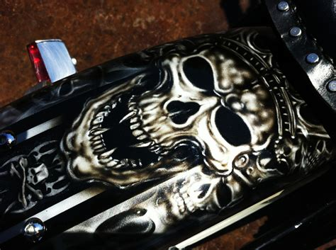 Custom Painted Motorcycle Skulls And Marblizer