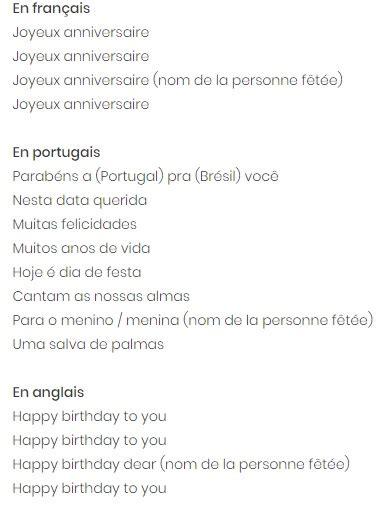 chanson joyeux anniversaire parole texte carte