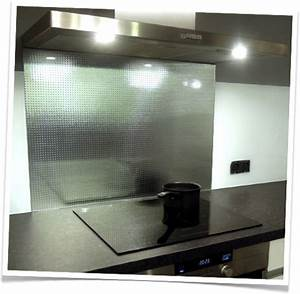 credence de cuisine en verre trempe master carre argente With credence verre salle de bain