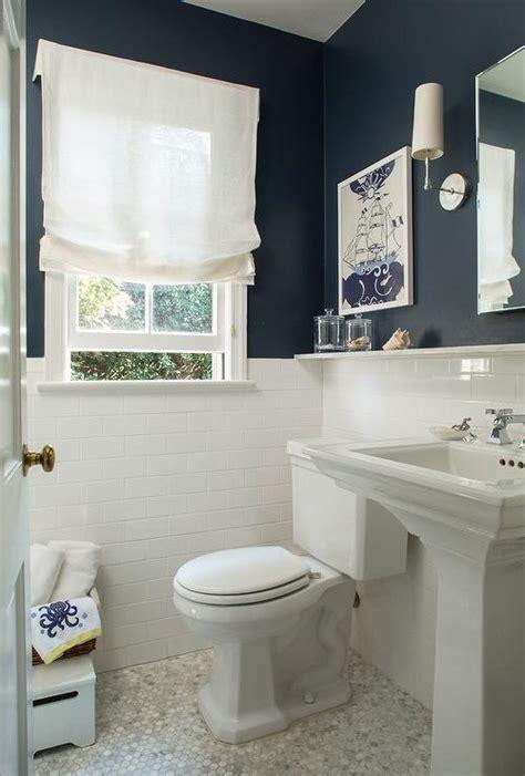 navy bathroom walls  white subway tiles cottage