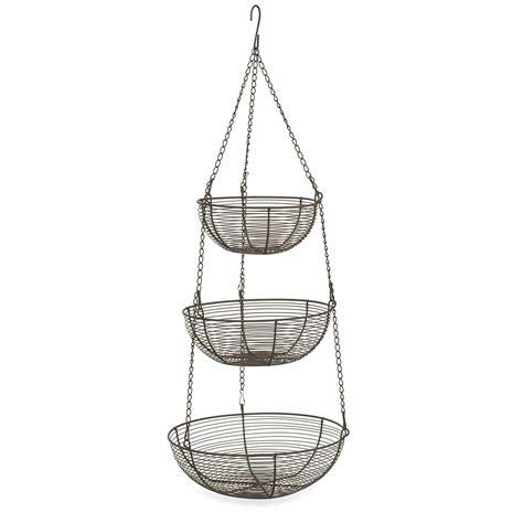 rsvp bronze 3 tier hanging woven wire metal basket fruit