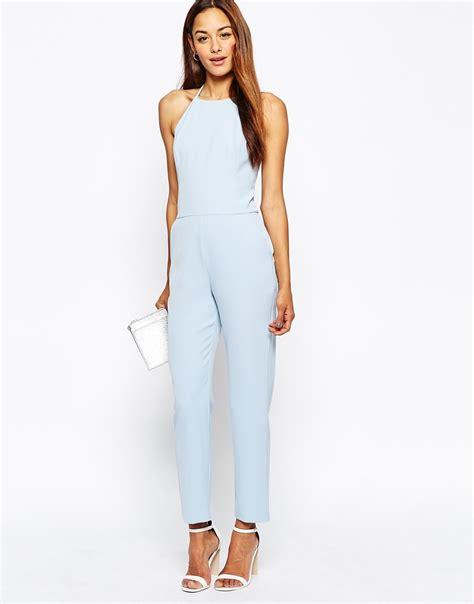 halter jumpsuits lyst asos premium halter neck jumpsuit in blue