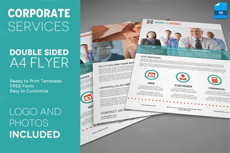 4 Sided Brochure Template by A4 Sided Corporate Flyer Flyer Templates On