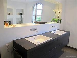 double meuble vasque suspendu inside creation photo n85 With salle de bain design avec lavabo meuble suspendu