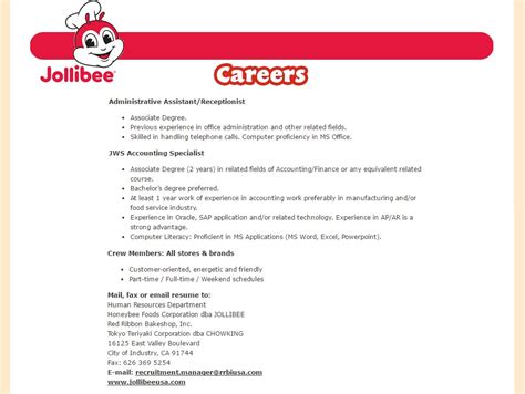 Jollibee Resume by I Cares News Details