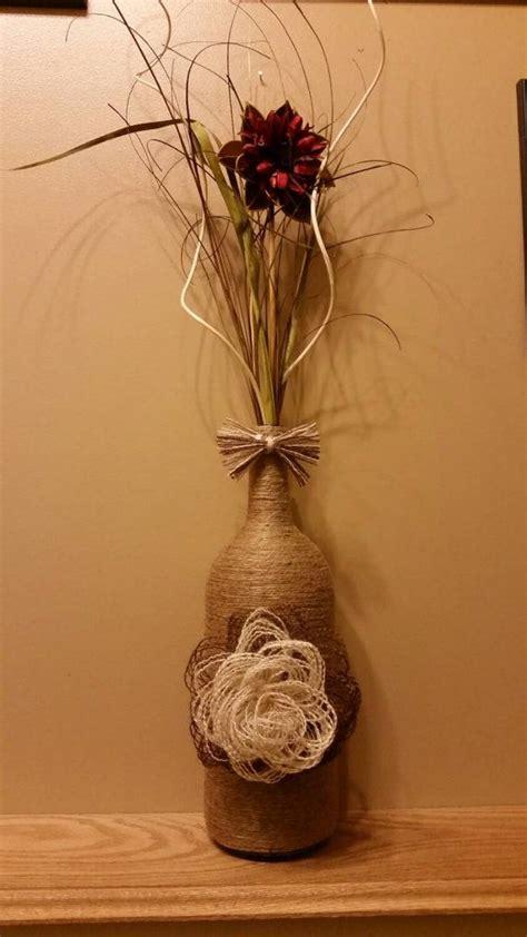 large twine wrapped wine bottle  handmade whitebrown