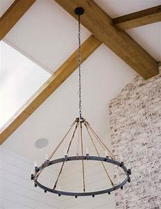 Farmhouse, Chandelier, Fills, Expansive, Living, Room, With, Rustic, Style