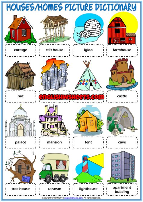 types  houses esl picture dictionary worksheet  kids