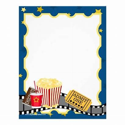 Ticket Template Cinema Party Popcorn Invitation Border
