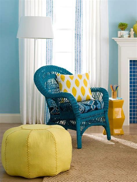 personalize a wicker chair by spray painting it a bright color more inexpensive decorating