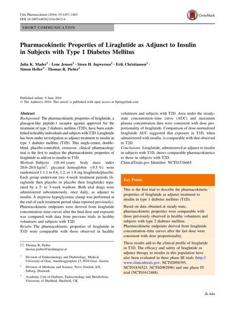 pharmacokinetic properties  liraglutide  adjunct