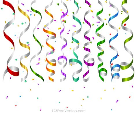 Vector Colorful Birthday Party Streamers And Confetti