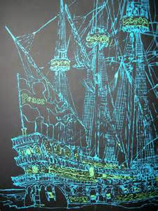 Vintage Ship Poster Black Light