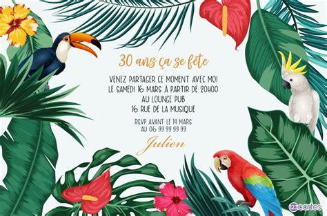 aventure tropicale carte invitation anniversaire  ans