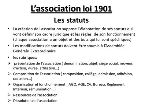 bureau d une association loi 1901 l association loi 1901 les statuts ppt
