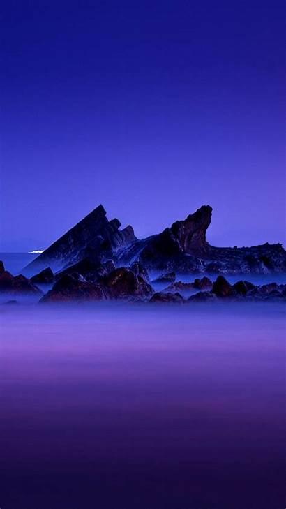 Nightfall Portrait Mist Layers Rocks Sea Landscape