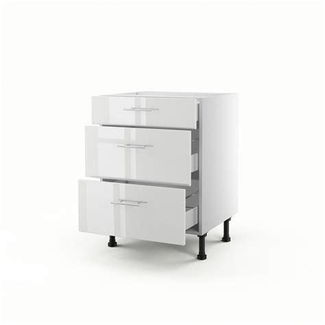 cuisine meuble bas meuble de cuisine bas blanc 3 tiroirs h 70 x l 60 x p