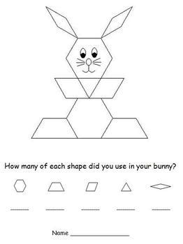 easter pattern block puzzles bunny  easter egg