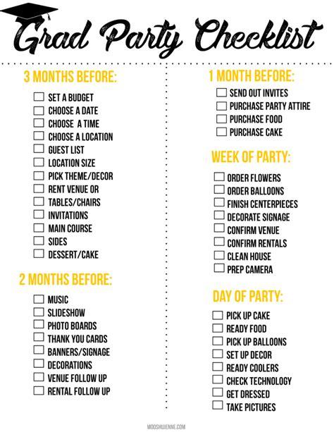 graduation party printable checklist mooshu jenne