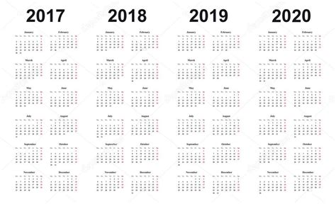 Calendrier 2017, 2018, 2019, 2020, Conception Simple