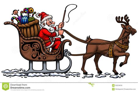 santa in his sleigh royalty free stock photos image