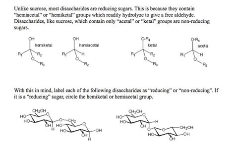 Solved Unlike Sucrose Most Disaccharides Are Reducing Su