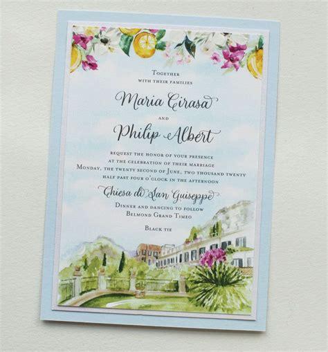 Watercolor Sicily Wedding Invitations #momentaldesigns #