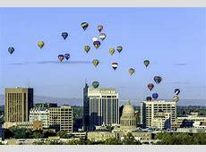 Hot air balloon festival over boise