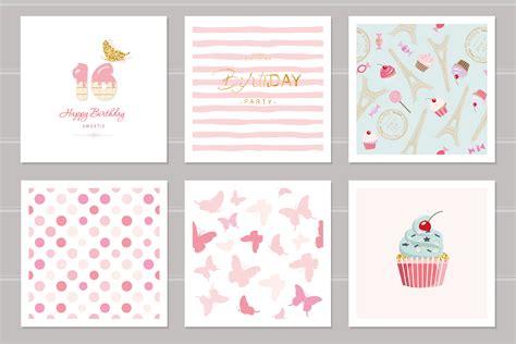 birthday cards set  teenage girls including seamless