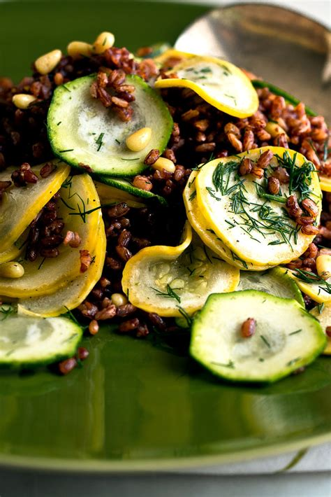 summer squash  red rice salad  lemon  dill