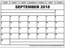 September 2018 Calendar monthly calendar 2017
