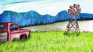 How To Draw A Farm Windmill Scene - Step By Step